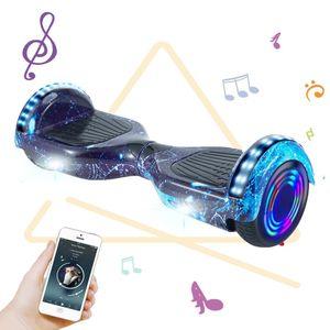 Hoverboard 6,5 Zoll Bluetooth Elektro Roller LED Self Balance Skateboard Kind Elektroroller Räder Lichter-Blau Galaxis