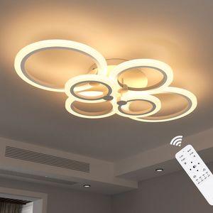 ANTEN LED Deckenleuchte LED 40W mit Fernbedienung Lichtfarbe/Helligkeit einstellbar dimmbarer Acryl Lampenschirm 60x80cm A+