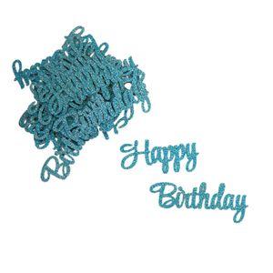 Oblique Unique Konfetti Set Happy Birthday Tisch Deko Kinder Geburtstag blau mit Glitzereffekt