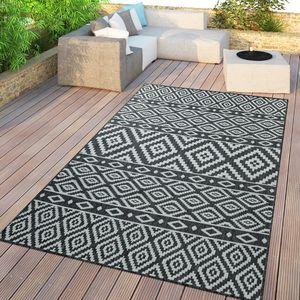 In- & Outdoor-Teppich, Für Balkon Und Terrasse Mit Skandi-Design, In Schwarz, Größe:120x170 cm