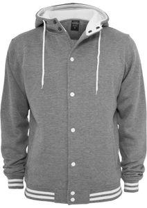 Urban Classics Hooded College Sweatjacke, Größe: S; Farbe: Lightgrey