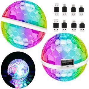 2x Mini Discokugel USB Party Licht Disco Party Licht Sound Aktiviert 3W RGB Disco Ball mit 4 Adaptern für Alle Handys