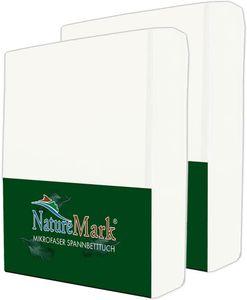 NatureMark 2er Pack MICROFASER Spannbettlaken | 200x220 cm +40 STEG - weiß