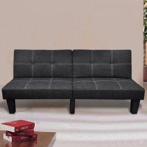 CHIC® Schlafsofa im skandinavischen Stil,Eckcouch|Polstersofa Bettsofa Lounge Sofa für Wohnzimmer Stoff Verstellbar Schwarz※3065