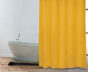 """MSV Premium Anti-Schimmel Textil Duschvorhang - Anti-Bakteriell, waschbar, 100% wasserdicht - Polyester, """"Safran Gelb"""" 180x200cm"""