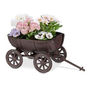 relaxdays Pflanzfass auf Handwagen Gartendeko