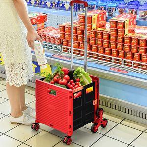 COSTWAY Einkaufstrolley Klappbar, Einkaufswagen Kunststoff Faltbar, Transport Trolley Treppensteigen 70kg Tragkraft, Einkaufskorb mit Deckel, Teleskop Griff, 8 rädern (Rot)