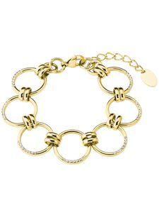 s.Oliver 2027627 Damen Armband Edelstahl Gold weiß 21 cm