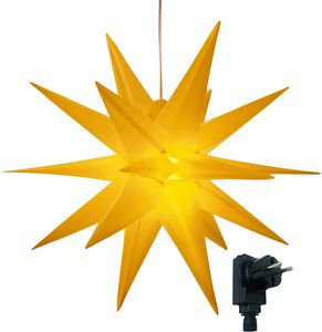 3D Leuchtstern mit warm-weißer LED Beleuchtung und Timer, für Innen und Außen geeignet, Weihnachtsstern - Außenstern, hängend / 7,5 m Zuleitung  (Gelb)