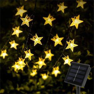 Lichterkette Außen Solar 7M Solarlichterkette Außen Wetterfest 8 Modi Solar Lichterkette Stern Garten