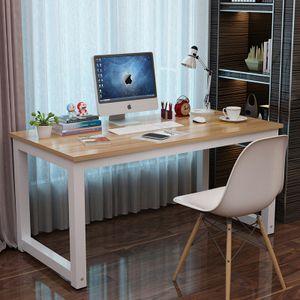 Schreibtisch Arbeitstisch 120x60x75cm , Höhenverstellbar Bürotisch Computertisch Leichte Montage Tisch, Farbe: Weiß/ Walnuss, Plattendicke 25 mm