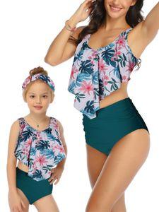 Mom Kids Badebekleidung High Waist Neckholder Bikini Set PUSH-UP Beachwear Badeanzug 2Stück,Farbe:Blau,Größe:104