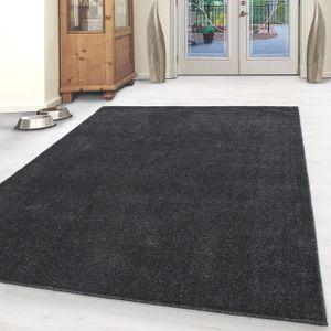 Kurzflor Teppich Einfarbig Gabbeh Optik Büro Wohnzimmerteppich Anthrazit Meliert, Grösse:200x290 cm