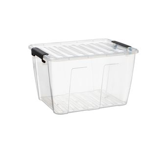 Aufbewahrungsbox mit Deckel Klickverschluss Aufbewahrungsbehälter Stapelbar Transparent 15L