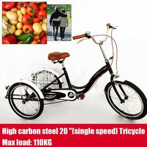 20 Zoll Fahrrad 3 Räder Dreirad Erwachsenendreirad Seniorenrad Cityrad Fahrrad + Einkaufskorb Schwarz Für Erwachsene