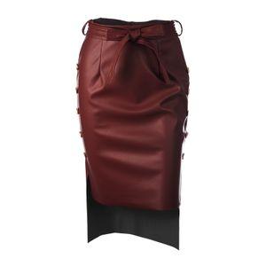Lederrock für Frauen Side Slit Tie Taille Midi Bodycon Rock Hoch taillierter Bleistiftrock