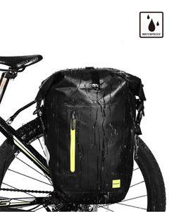 Rhinowalk Fahrradtasche wasserdichte u. reißfeste Gepäckträgertasche (25L) Schwarz