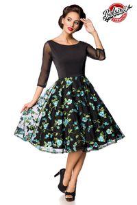 Besticktes Vintage-Swingkleid, Farbe: Schwarz/Blau, Größe: L