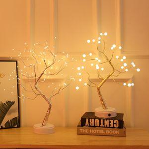 36LED 3D Tisch-Lampe, Kupfer Draht Weihnachten Feuer Baum Nacht Licht für Innen Kinder Decor Fee Licht