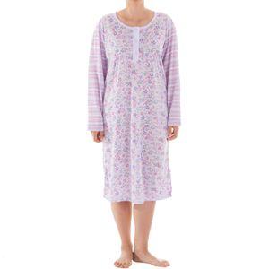 Lucky - Nachthemd langarm mit Blumenmuster Druck Streifen Nachtkleid Nachtwäsche trend Winter, Größe:L, Farbe:Flieder