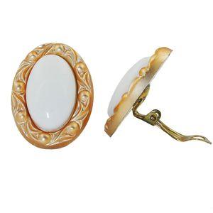 Clip Ohrring 30x21mm oval weiß mit Rahmen goldfarbig Kunststoff-Bouton weiß 30x21mm