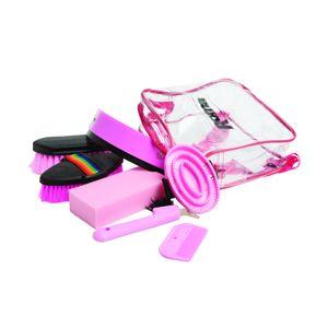 Roma Pferde-Putzzeug-Set, 7-teilig, inklusive Rucksack WB460 (Einheitsgröße) (Pink)