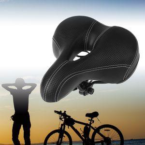 Comfort Fahrradsattel Soft Wide Bike Sitzkissen mit wasserdichter Abdeckung (Schwarz)