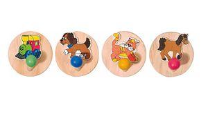 Woody 4 tlg. Set - Holz Garderobenhaken Kleiderhaken Garderobe für Kinder