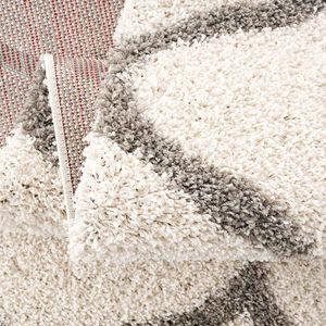 Shaggy Teppich Rauten Design Creme Grau Modern, Maße:120x170 cm