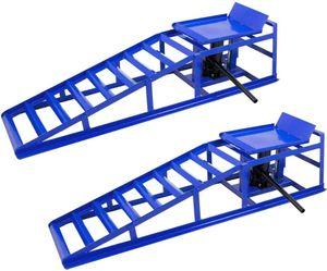 NAIZY 2 Stück Auto PKW Auffahrrampen Laderampe Set mit hydraulischem Hebeplattform Wagenheber bis 245mm Reifen 2000 kg