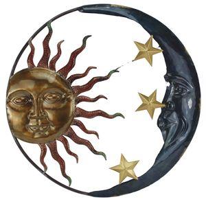 Sonne Mond Sterne Wanddeko Wandbild Metall Deko Hänger Bild Wandschmuck Halbmond