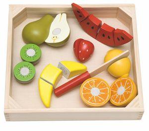 KINDER SPIELZEUG HOLZ FRÜCHTE & Holzmesser & Tablett Holzspielzeug Küche