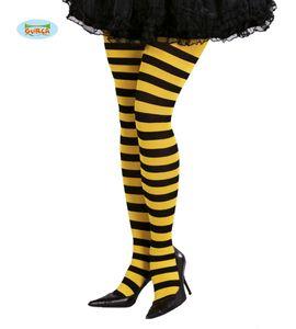 Fiestas Guirca strumpfhose gestreift Damen Polyamid schwarz/gelb Einheitsgrösse