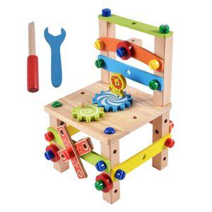 Montessori Spielzeug DIY Montage Stuhl Holz Spielzeug für Kinder Montessori Pädagogisches Spielzeug Vorschule Sensorischen Spielzeug Style2 20 x 20 x 29,5 cm Spielzeug lernen