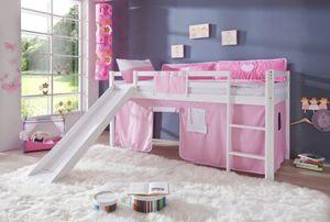 Relita Hochbett TOBY Buche massiv weiß lackiert, mit Rutsche und Textilset rosa/weiß, BS1171117+TX5002025+TX5032025