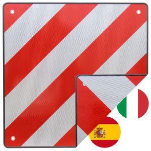 TrutzHolm® Warntafel Italien und Spanien 2 in 1 50 x 50 cm rot weiß Reflektierendes Warnschild