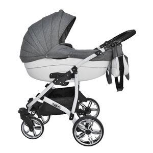 Cleo Kombi Kinderwagen 3 in 1 Komplettset mit Vollgummireifen - grau/weiß mit Kunstlederelementen