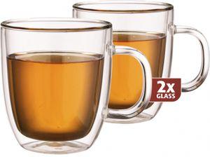 Maxxo teeglas doppelwandig 13 cm Glas transparent 2 Stück