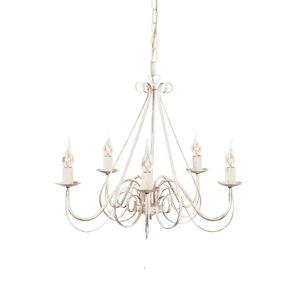 QAZQA - Landhaus | Vintage Kronleuchter | Chandelier weiß - Giuseppe 5-flammig | Wohnzimmer | Küche - Stahl Rund - LED geeignet E14