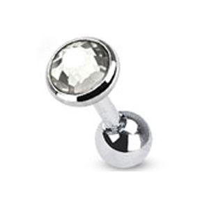 Tragus Helix Cartilage Ohr Piercing Zirkonia Stecker Barbell Kristalle Chirurgenstahl Autiga®  silber-klar Kugel Ø 5 mm