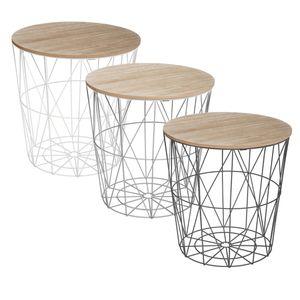 Couchtisch mit abnehmbarer Platte, multifunktionales Möbelstück im charmanten Stil, Farbe:weiß