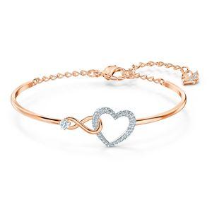 Swarovski Armreif 5518869 Infinity Heart, weiss, Metallmix