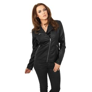 Urban Classics Ladies Biker Jacket Lederjacke Schwarz, Größe: S