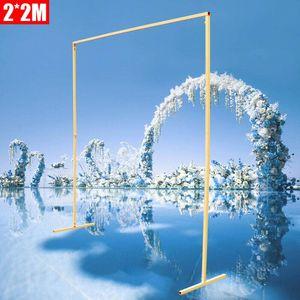 2*2M Metall Hochzeits-Bogen Quadrat Rosenbogen Gartenbogen Blume DIY Pflanze Wand Dekoration Torbogen (Gelb)