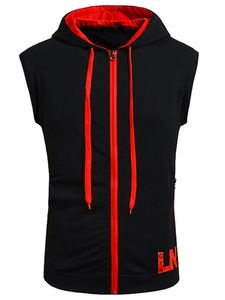Herren Hooded Zip Vest Kurzarm Top Fashion Hoodie,Farbe: Schwarzrot,Größe:L