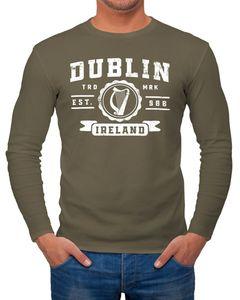 Herren Longsleeve Dublin Irland Retro Design Aufdruck Print Schrift Langarm-Shirt Fashion Streetstyle Neverless® khaki L
