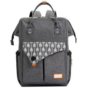Baby Wickelrucksack Wickeltasche mit Wickelunterlage Große Kapazität Babytasche Reisetasche, Grau