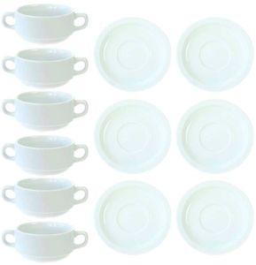 12tlg. Set Suppentassen stapelbar aus Porzellan