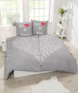 VS HomeRenforcé-Bettwäsche für Partner, 4-teilig, 135 x 200 cm / 80 x 80 cm, Silber - Rot
