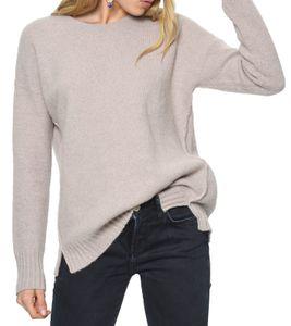 TOMMY HILFIGER Strick-Pullover kuscheliger Damen Woll-Pulli mit kleinen Seitenschlitzen Beige, Größe:XL